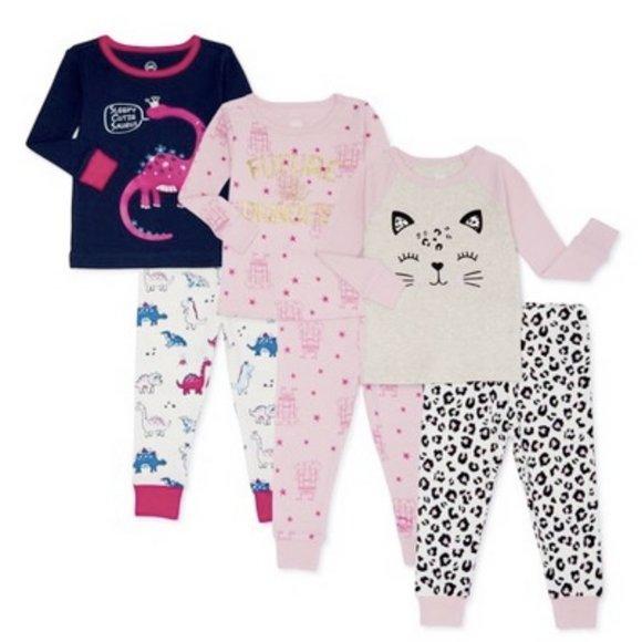 NWt 2T leopard princess dinosaurs cat pajamas 6 pc